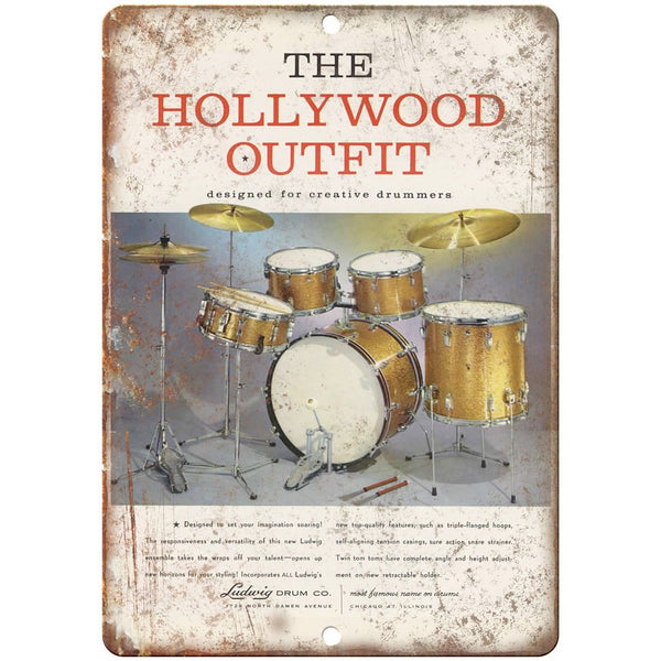 "Ludwig Drum Co The Hollywood Outfit Ad 10"" X 7"" Reproduction Metal Sign R04"