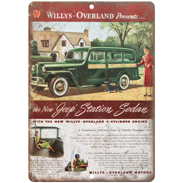 "1948 Jeep Station Wagon Willys Overland 10"" x 7"" Reproduction Metal Sign"