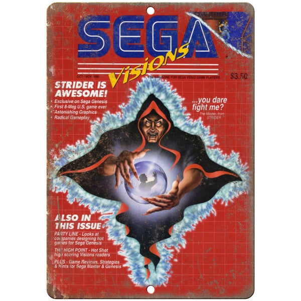 "Sega Visions Strider Gaming Magazine Cover 10"" x 7"" Reproduction Metal Sign G310"