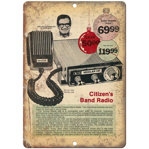"Citizen Band Radio CB Vexilar Vintage Ad 10"" x 7"" Reproduction Metal Sign"