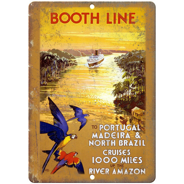 "Booth Line Portugal Brazil Travel Poster 10"" x 7"" Reproduction Metal Sign T52"