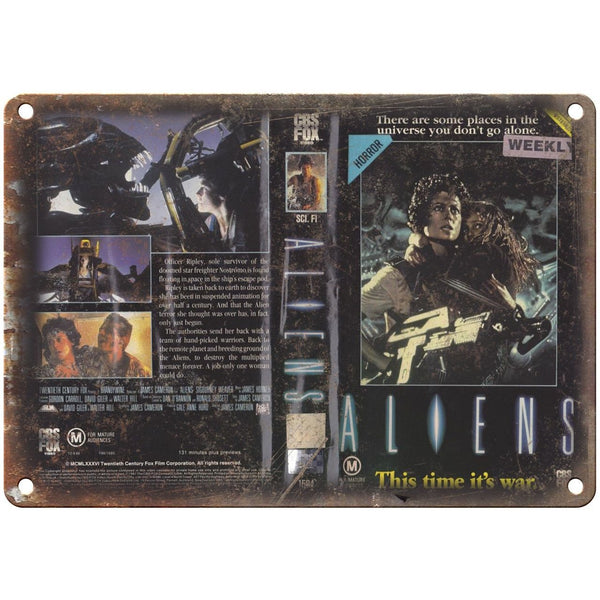 "Aliens CBS Fox Video VHS Box Art 10"" X 7"" Reproduction Metal Sign V03"
