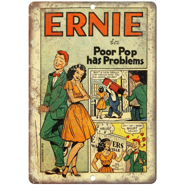 "Ernie Gus Schrotter Golden Age Comic Strip 10"" X 7"" Reproduction Metal Sign J477"