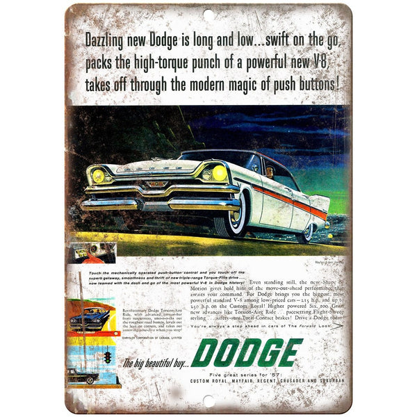 "1957 Dodge Mayfair Vintage Advertising 10"" x 7"" Reproduction Metal Sign"