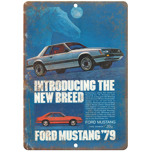 "1979 - Ford Mustang Sportscar Vintage Ad - 10"" x 7"" Retro Look Metal Sign"