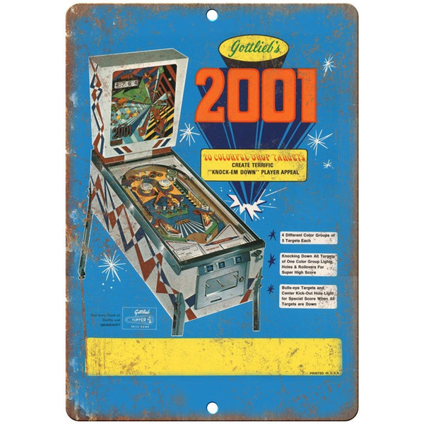"Gottliebs 2001 Pinball Machine 10"" x 7"" reproduction metal sign"