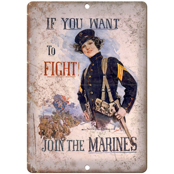 "Vintage Join The Marines Millitary Poster 10"" x 7"" Reproduction Metal Sign M13"