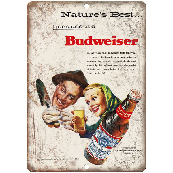 "Budweiser Natures Best Beer Vintage Ad 10"" x 7"" Reproduction Metal Sign E313"