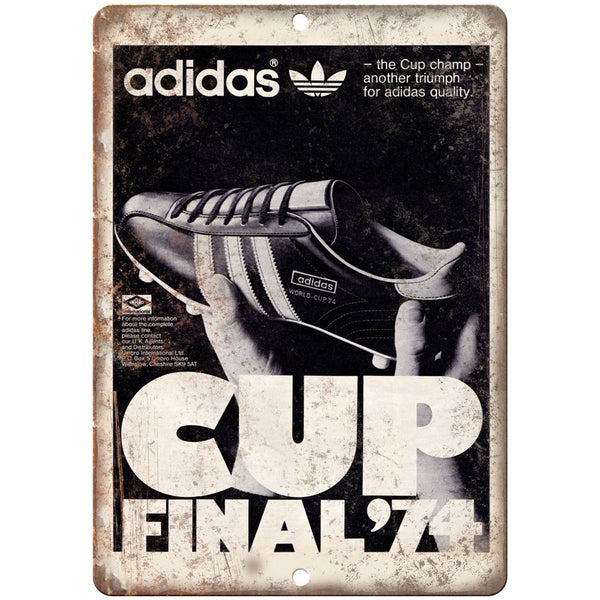 "1974 Adidas World Cup Soccer Cleates Ad 10"" X 7"" Reproduction Metal Sign ZE39"