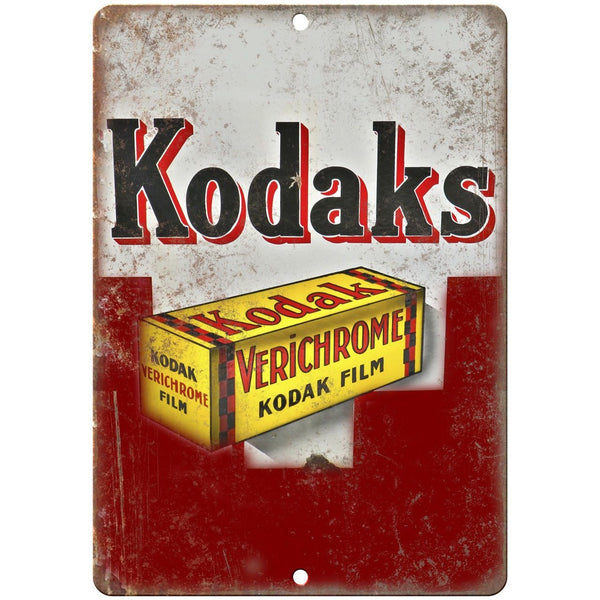 "Kodaks Verichrome Film Porcelain Look 10"" X 7"" Reproduction Metal Sign U84"