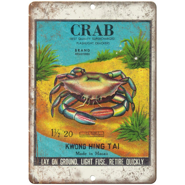 "Crab Firecracker Package Art 10"" X 7"" Reproduction Metal Sign ZD110"