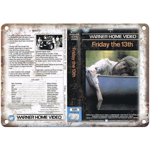 "Warner Home Video Friday The 13Th Jason VHS 10"" X 7"" Reproduction Metal Sign V14"