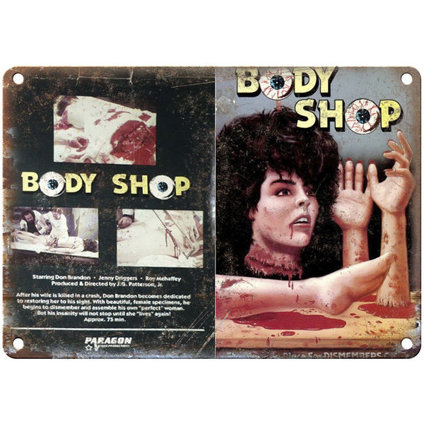 "1972 - The Body Shop Paragon Video VHS Cover 10"" x 7"" Reproduction Metal Sign"
