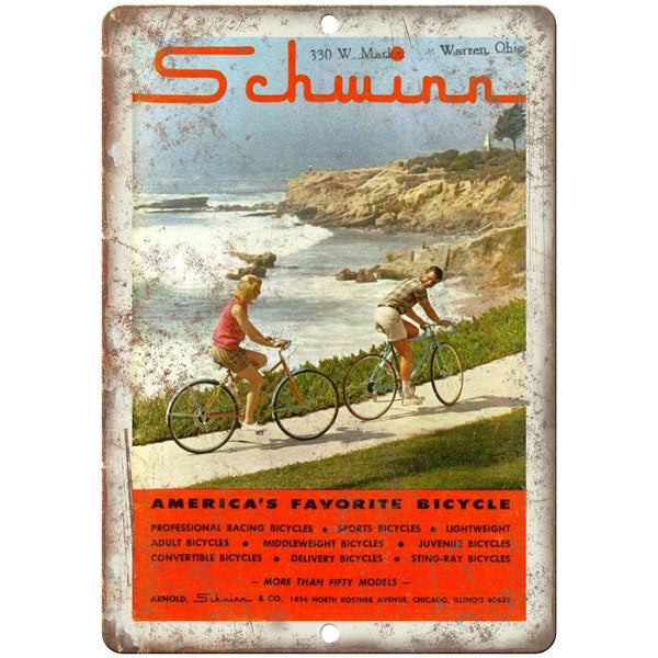 "1965 - Schwinn Americas Favorite Bicycle - 10"" x 7"" Retro Look Metal Sign"