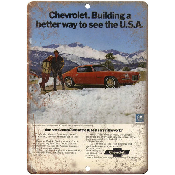"Chevy Camaro Advertisment Man Cave Retro Look 10"" x 7"" Reproduction Metal Sign"
