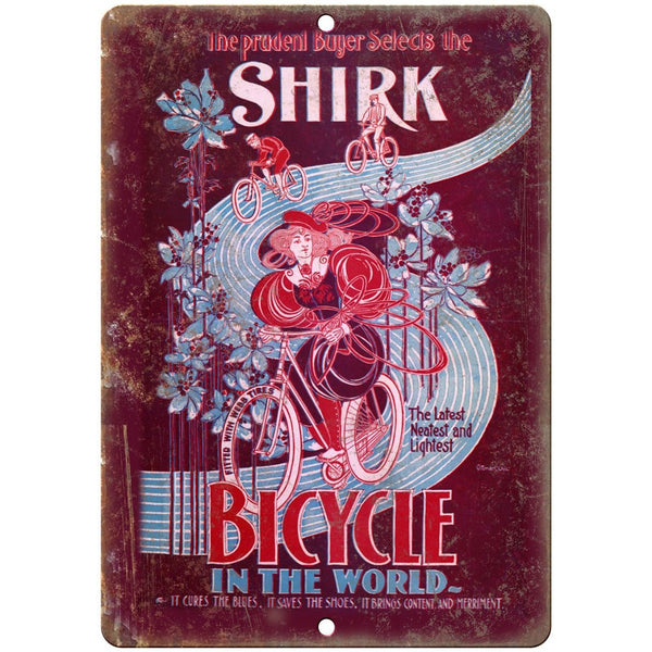 "Shirk Bicycle Vintage Poster Ad 10"" x 7"" Reproduction Metal Sign B228"