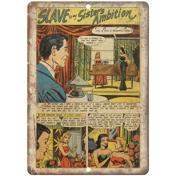 "Ace Comics Slave to my Sisters Ambition 10"" X 7"" Reproduction Metal Sign J389"