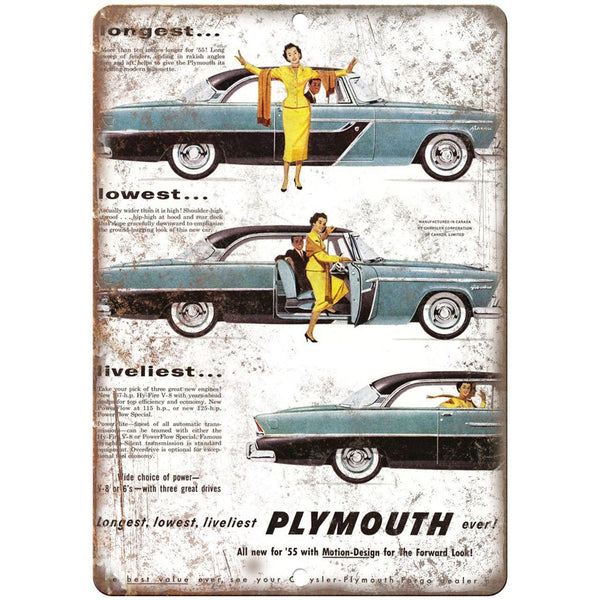 "1955 - Plymouth Hy-Fire V8 10"" x 7"" Reproduction Metal Sign"