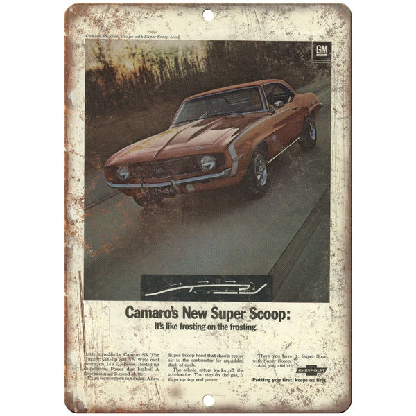 "Chevy Camaro SS Super Scoop Vintage Print Ad 10"" x 7"" Reproduction Metal Sign"