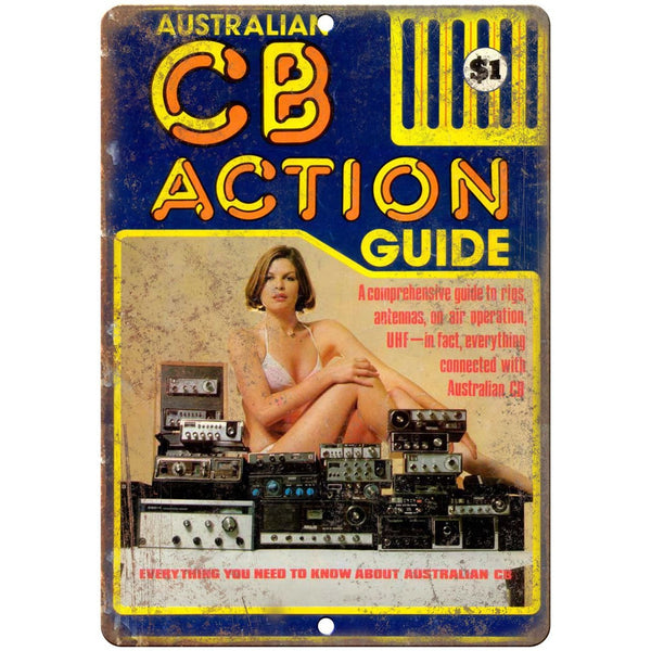 "CB Action Guide CB Radio, HAM Radio 10"" x 7"" Reproduction Metal Sign"