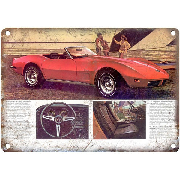 "1973 Chevy Corvette Chevrolet Ad 10"" x 7"" Vintage Look Reproduction Metal Sign"