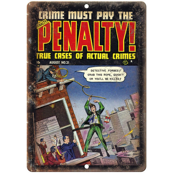 "Penalty! Crime Mafia Comic Book Art 10"" X 7"" Reproduction Metal Sign J325"