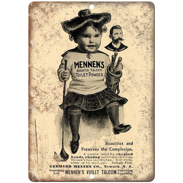 "Mennen's Toilet Powder Vintage Ad 10"" X 7"" Reproduction Metal Sign ZF110"