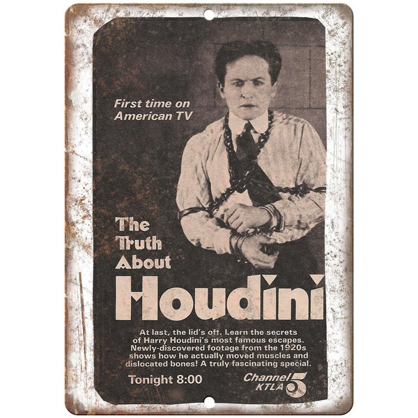 "The Truth about Houdini Magic TV Ad 10"" X 7"" Reproduction Metal Sign ZH128"