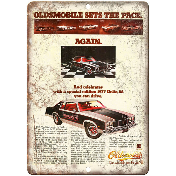 "1977 Oldsmobile Delta 88 Official Pace Car 10"" x 7"" Wall Art Metal Sign"