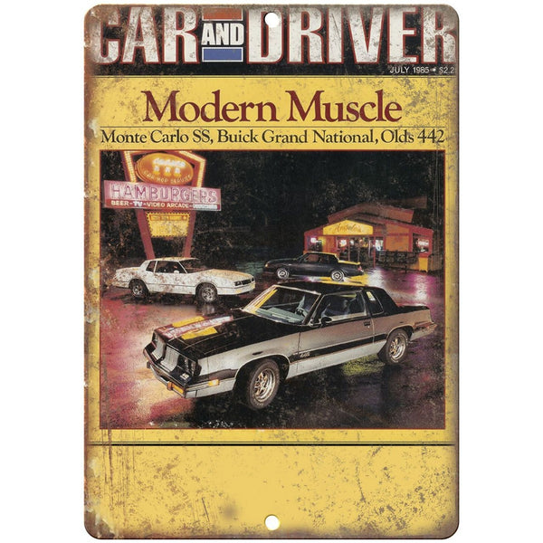 "1985 Car and Driver Olds 442, Buick Grand, Monte Carlo10"" x 7"" Retro Metal Sign"