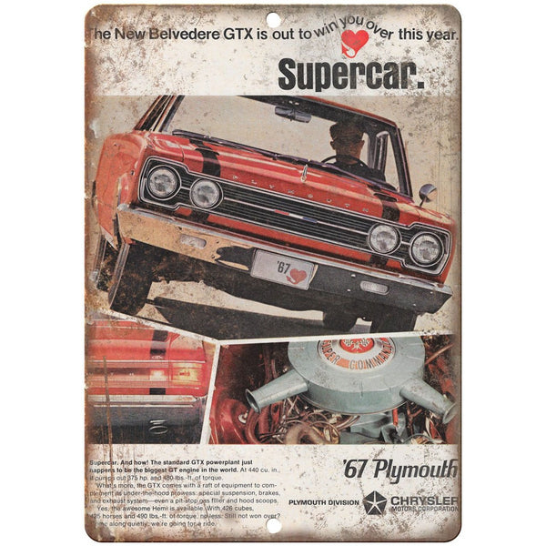 "1967 Chrysler Plymouth 10"" x 7"" Reproduction Metal Sign"