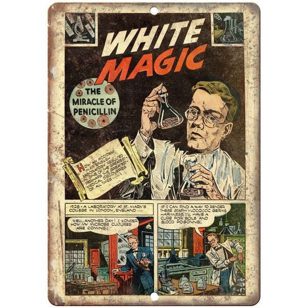 "White Magic Science Comic Strip Art 10"" X 7"" Reproduction Metal Sign J462"