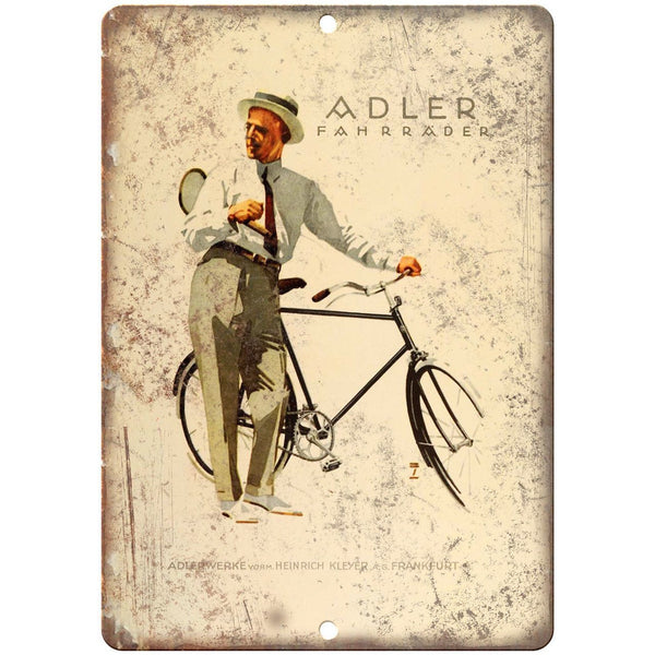 "Adler Fahrrader Bicycle Vintage Art Ad 10"" x 7"" Reproduction Metal Sign B417"