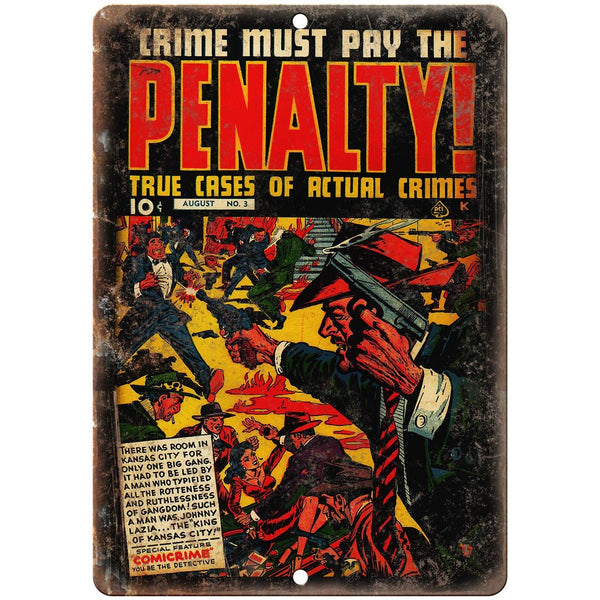 "Penalty! Comicrime Vintage Ace Comics 10"" X 7"" Reproduction Metal Sign J326"