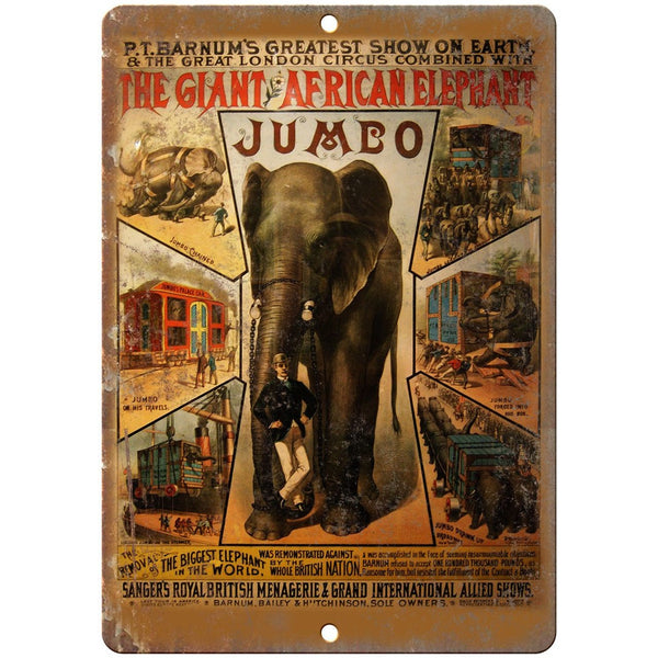 "The Giant African Elephant Circus Poster 10"" X 7"" Reproduction Metal Sign ZH61"
