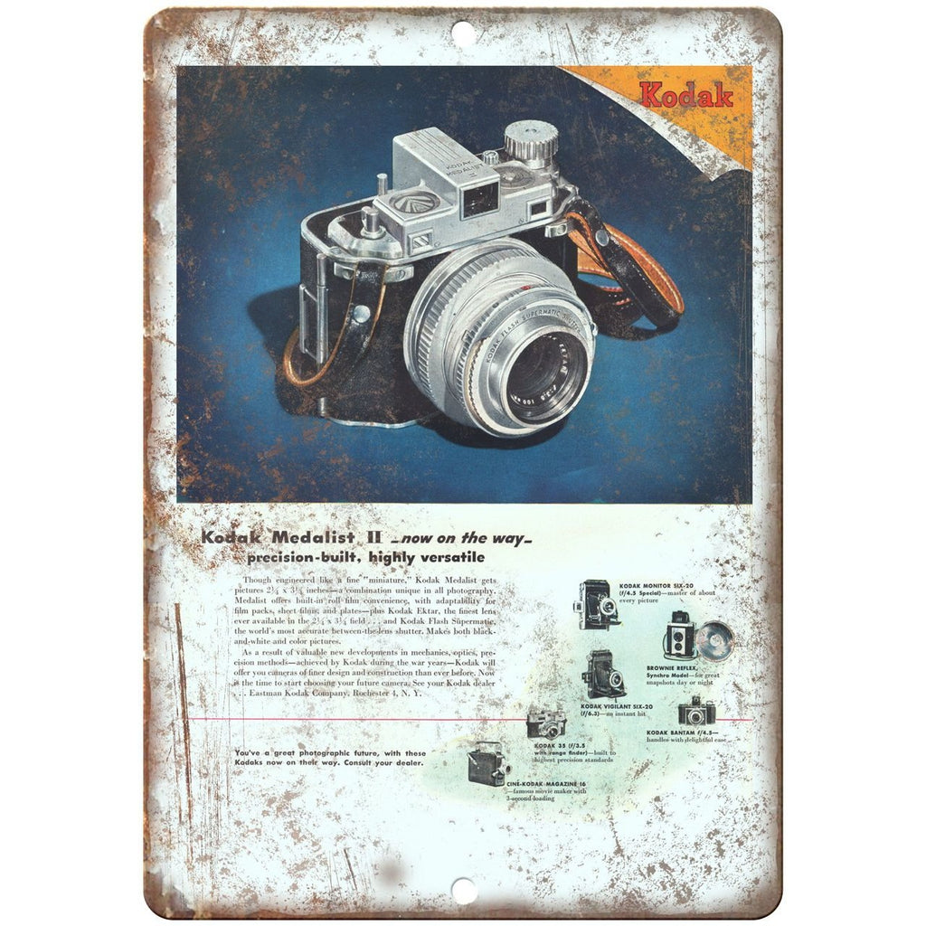 "1946 - Kodak Film Camera Ad - 10"" x 7"" Retro Look Metal Sign"