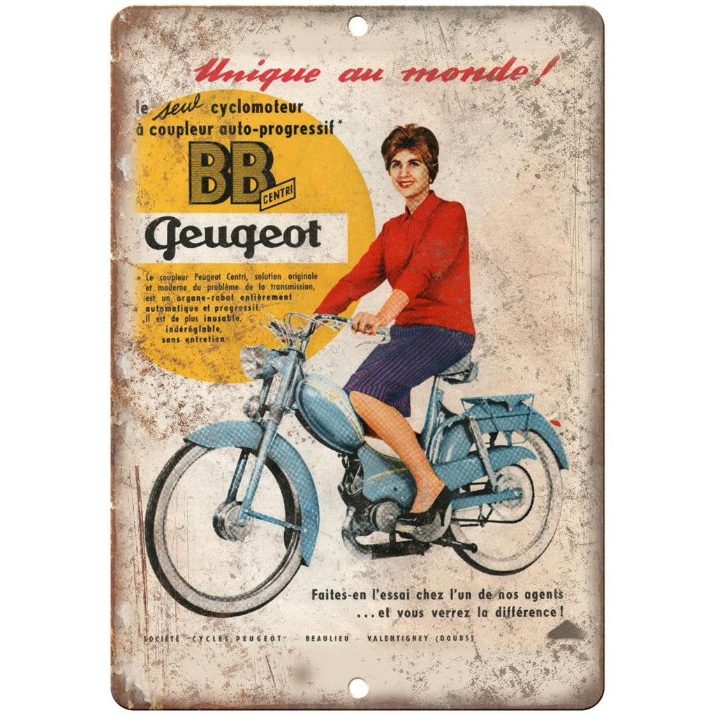 "Puegeot Centri Motorcycle Vintage Ad 10"" x 7"" Reproduction Metal Sign F18"