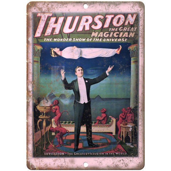 "Thurston The Great Magician Levitation 10"" X 7"" Reproduction Metal Sign ZH160"