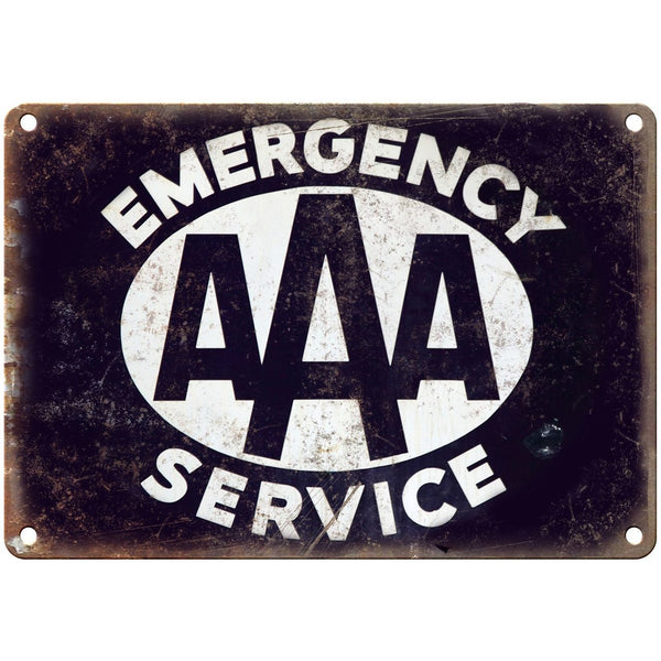 "Porcelain Look AAA Emergency Service 10"" x 7"" Reproduction Metal Sign"