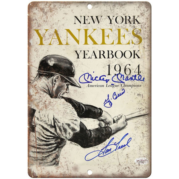 "New York Yankees 1964 Yearbook Cover 10"" x 7"" Reproduction Metal Sign X04"