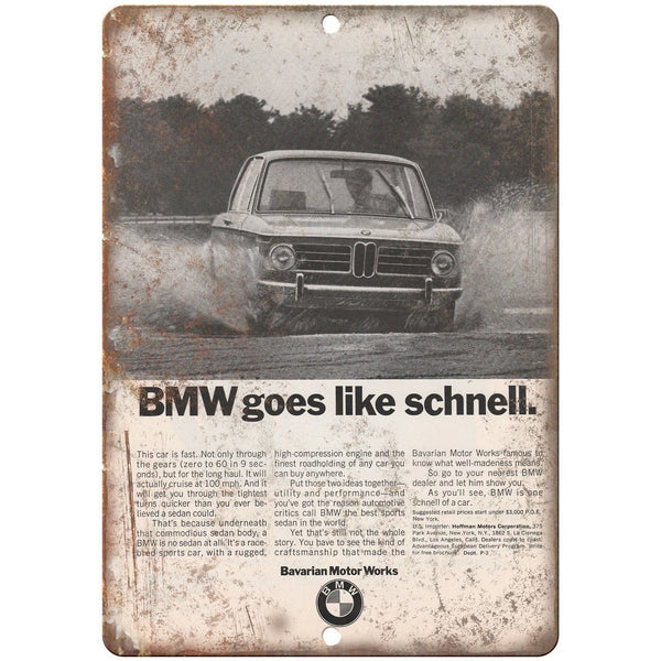 "BMW Schnell Bavarian Motor Works Vintage Ad 10""x7"" Reproduction Metal Sign A102"