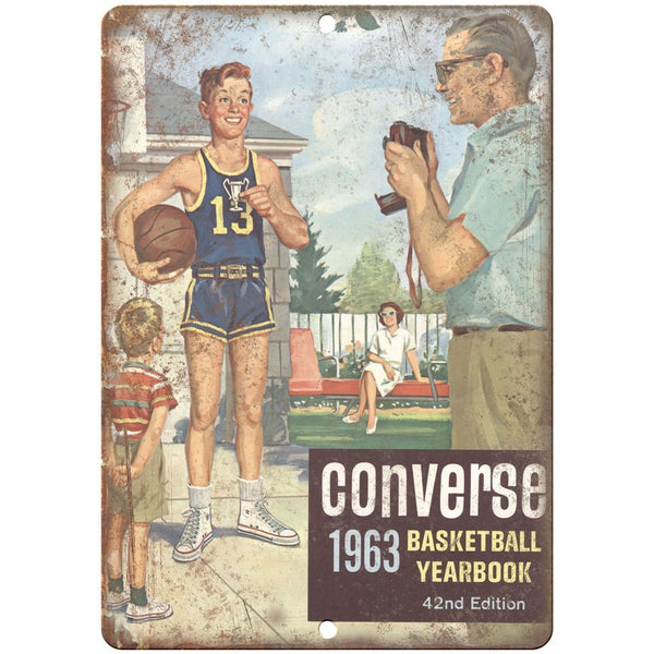 "1963 Converse Basketball Yearbook RARE 10"" x 7"" Reproduction Metal Sign"