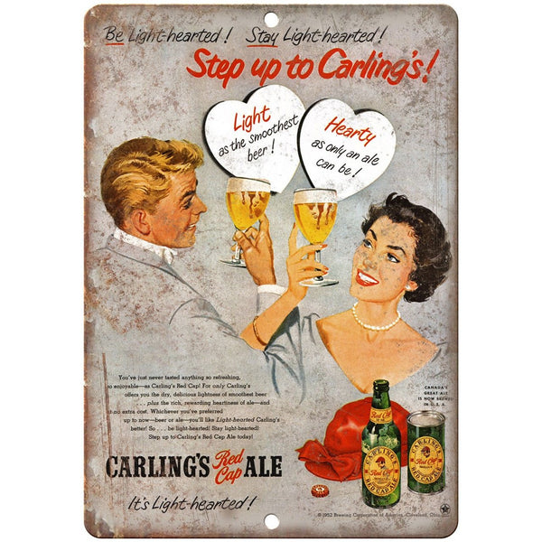 "Carling's Red Cap Beer Ale Vintage Ad 10"" x 7"" Reproduction Metal Sign E293"