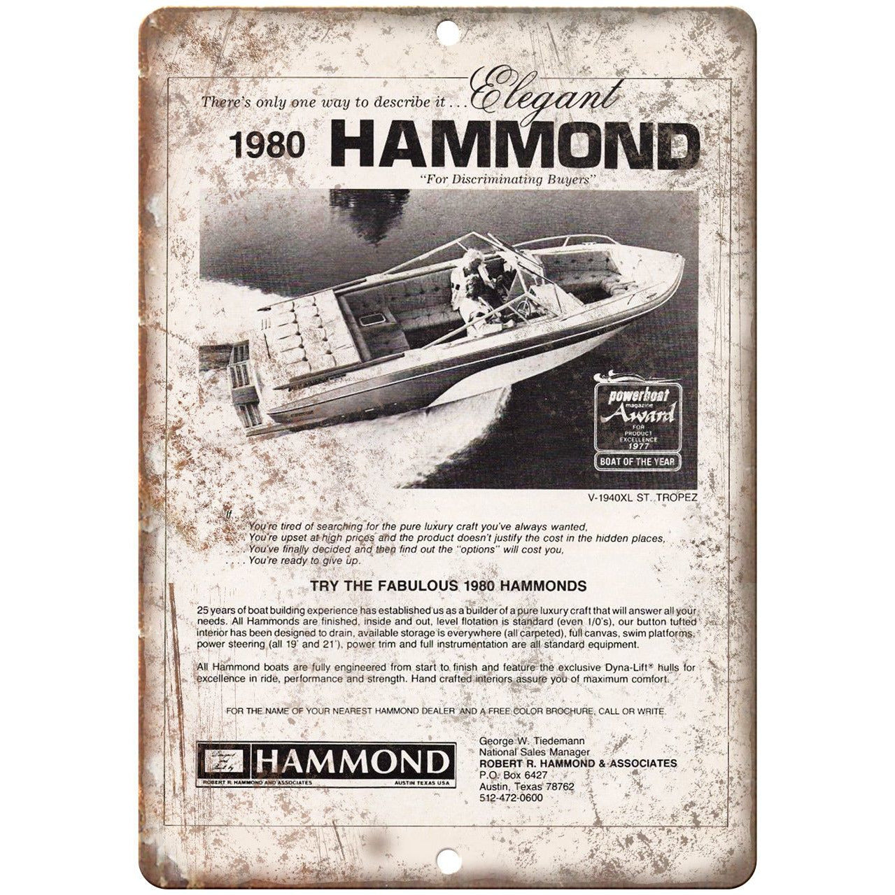 """1980 Hammond Boat Vintage Ad 10"""" x 7"""" Reproduction Metal Sign L78"""
