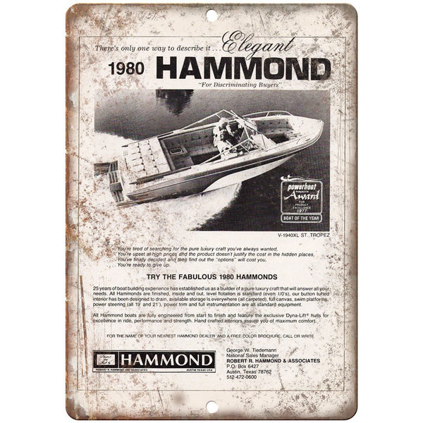 "1980 Hammond Boat Vintage Ad 10"" x 7"" Reproduction Metal Sign L78"