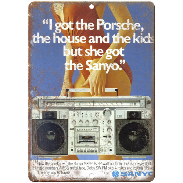 "Sanyo Boombox Ghetto Blaster 10"" x 7"" reproduction metal sign"