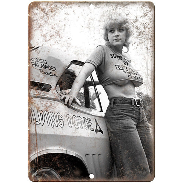 "Romeo Palamides Race Car Hot Chick 10"" X 7"" Reproduction Metal Sign A489"