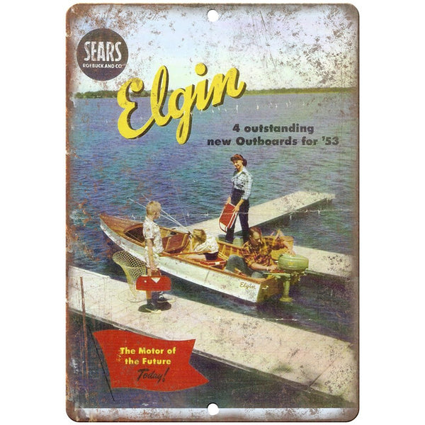 "Elgin Outboards 1953 Sears Vintage Boating Ad 10"" x 7"" Reproduction Metal Sign"