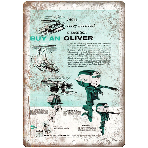 "1957 Oliver Outboard Motor Vintage Boat Ad 10"" x 7"" Reproduction Metal Sign L75"