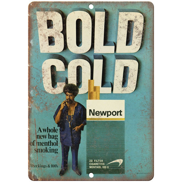 "1970s Newport Cigarette Bold Cold vintage ad 10"" x 7"" reproduction metal sign"